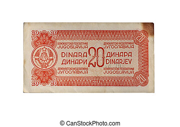 World War two Yugoslav banknote