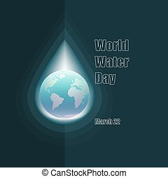 World Water day concept. Globe in drop of water.