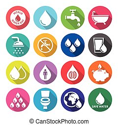 World Water Day icons - ecology, gr - Vector icons set of...