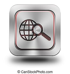 World web search aluminum glossy icon