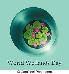 World Wetlands Day. A drop of water and the surface of the swamp with water lilies.