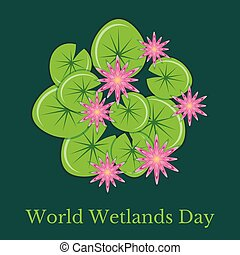 World Wetlands Day. Ecological event. Protection of Nature. Surface of the swamp with water lilies.