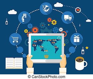 World Wide Shopping - Shopping on world map on screen of...