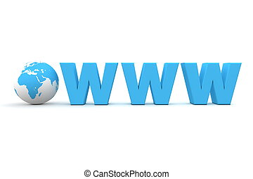 World Wide Web - 3D globe with word www in blue - front view