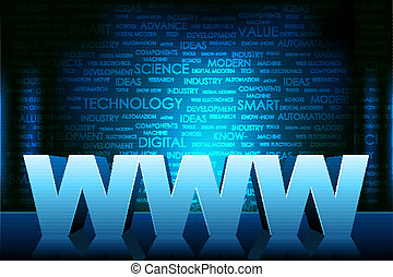 world wide web - illustration of www text on technology ...