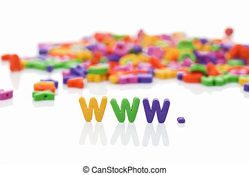 world wide web with plastic letter