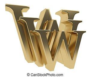 world wide web, www, brillante, oro, carta, símbolo, aislado, blanco, plano de fondo