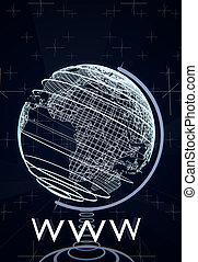 world wide web, www, concepto, ilustrado, por, un, globo terrestre, wireframes, fondo azul, 3d, interpretación