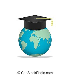 World with a Graduation hat on top. Means education is recognized by people all over the world vector.