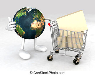world with a shopping cart
