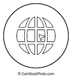 World with arrow world click concept website icon black color illustration in circle round