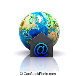 World with e-mail icon - 3d illustration - World with e-mail...