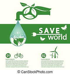 world with eco-friendly concept ideas, Infographic template, vector illustration