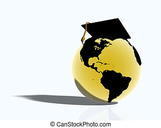 World with hat - Illustration, background of golden glass...