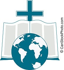 Religious logo symbolizes the Bible reading around the world. The image of the globe, the Bible, the cross as icons.