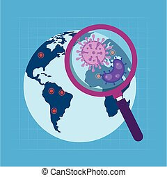 world with particles of coronavirus 2019 ncov in magnifying glass