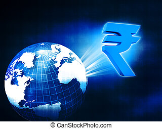 world with Rupee symbol , movement of rupee in global ...