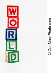 WORLD word wooden block arrange in vertical style on white background and selective focus