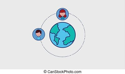 world young people around community animation hd