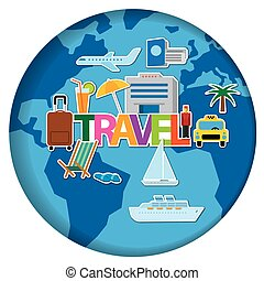 worldl travel concept stickers