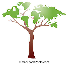 worldmap, ligado, árvore