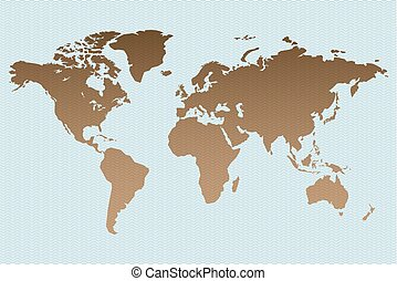 Worldmap-on-wave-stamp-background
