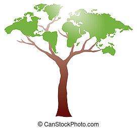 worldmap, på, träd