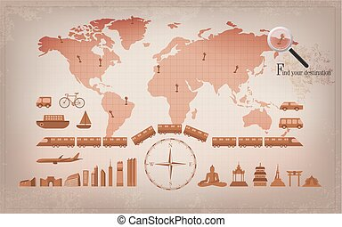 worldMap - travel infographic, vintage world map, tralvel...