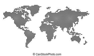 Worldmap white - World map - black points on white...