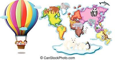 Balloon animals illustration stock illustration search eps worldmap with animals and balloon riding gumiabroncs Gallery