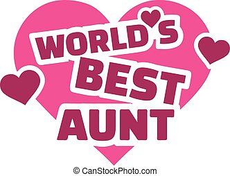 World's best aunt with hearts