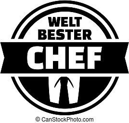 World's best boss button. German.