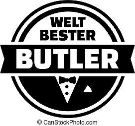 World's best butler button. German.