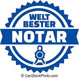 World's best notary german button