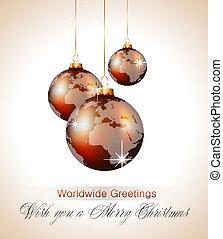 Worlds Christmas Baubles Background for Elegant Invitation...
