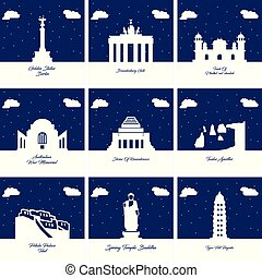 Worlds Famous monuments and landmarks icons set vector