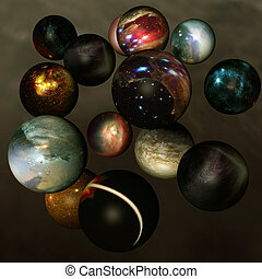 Worlds in deep space - different separated spheres with...