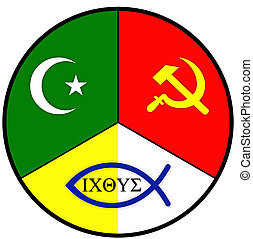 worldviews - Worldviews with symbols of Islam, Communism and...