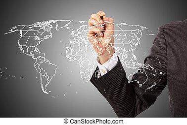 Worldwide business map on presentation board, world map...