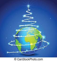 illustration of star in shape of christmas tree around globe