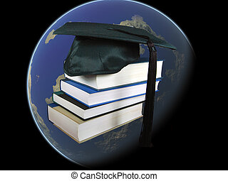 Worldwide  - Graduation cap on a stack of books.