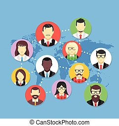 Worldwide communication. Social network, communication...