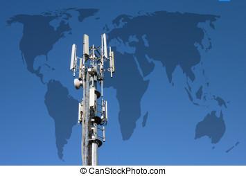Worldwide communications - Closeup of transmitter tower...