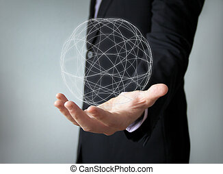 worldwide concept: spherical structure over businessman han