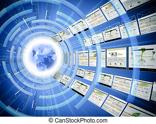 Worldwide data transfer - Concept of internet being used...