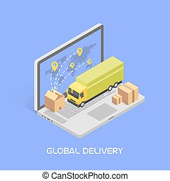 Worldwide delivery concept. Isometric style, vector