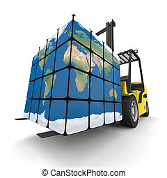 Worldwide delivery - Concept of global transportation, ...