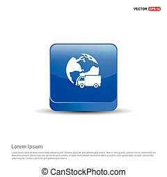 Worldwide delivery icon - 3d Blue Button