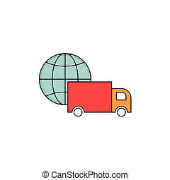 Worldwide Delivery Vector Outline Icon Illustration