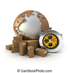 3D rendering of a world map, packages and a chronometer